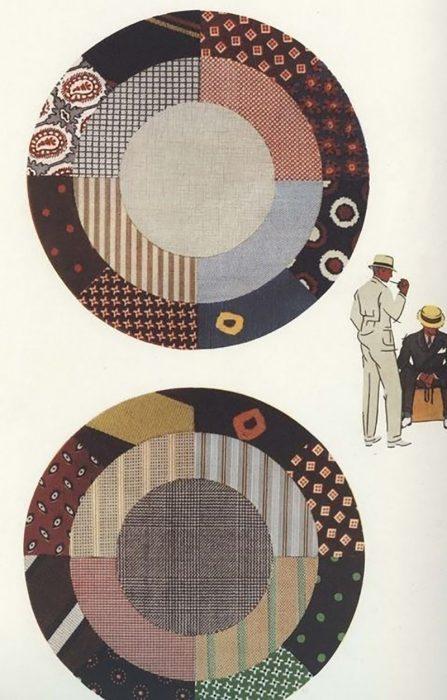 circulos con combinaciones de telas y texturas para atuendo de hombre
