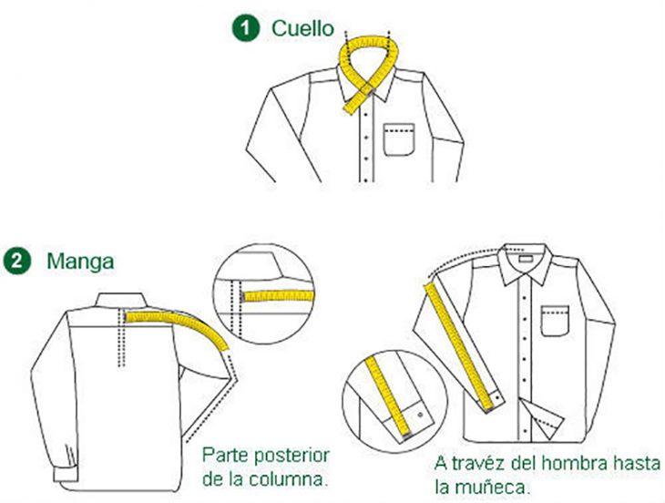 ilustracion de camisas y medidas de hombre