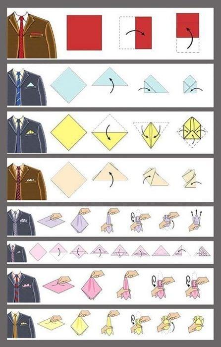 ilustración de saco y corbata y pañuelos