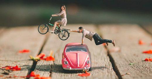 Fotógrafo de bodas convierte a parejas en personas diminutas y las pone en los más bellos escenarios