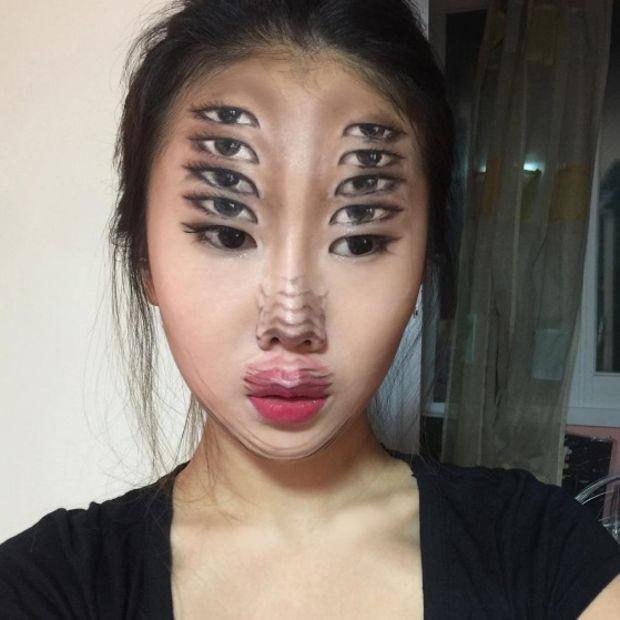 Ilusión óptica de 10 ojos.
