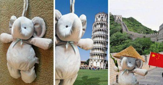 Este pequeño perdió su juguete y sus padres le dijeron que estaba viajando por el mundo