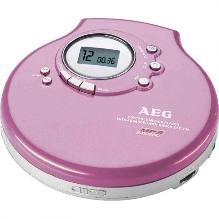 discman reproductor de musica cds rosa