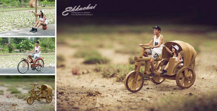 pareja en escenario miniatura con bicicleta en camino