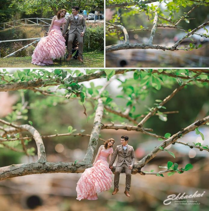 pareja en escenario miniatura ven una rama de un arbol