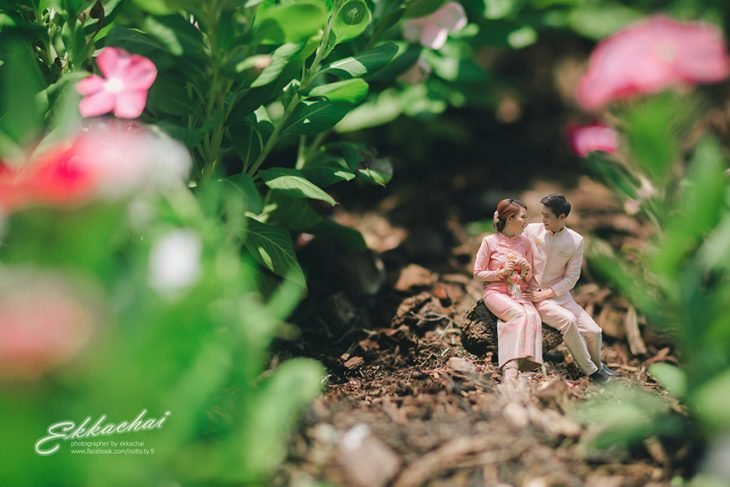 hombre y mujer sentados en un jardin y flores