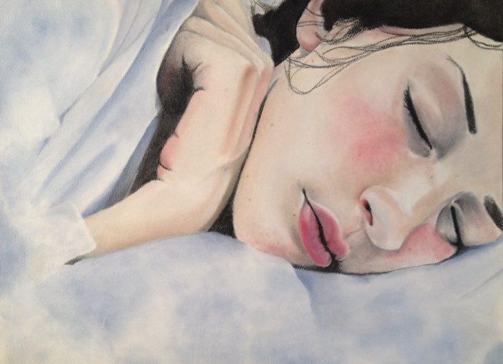 pintura de mujer blanca dormida