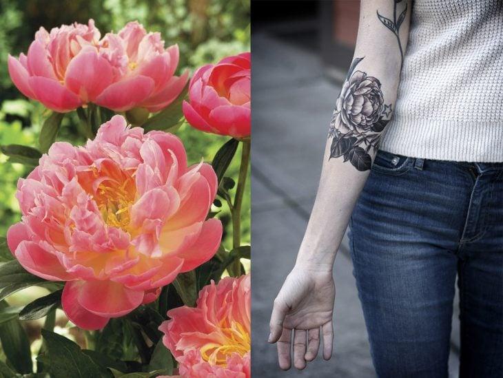 Peonía y tatuaje de peonía.