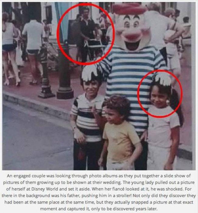hombre con carreola y personaje de disney con niños