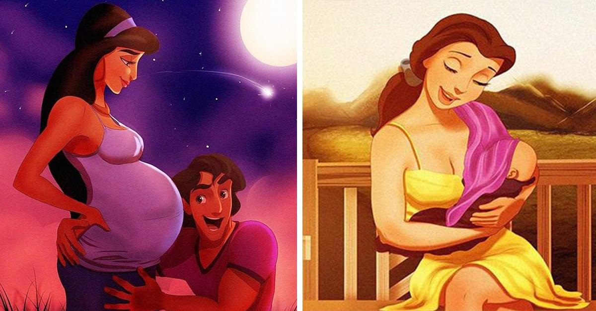 Así lucirían las princesas de Disney si fueran mamás