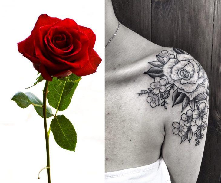 Rosa y tatuaje de rosa.