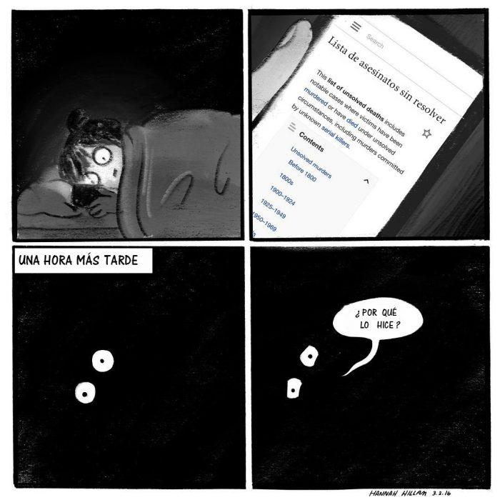 Ilustraciones comic con chica acosada y celular
