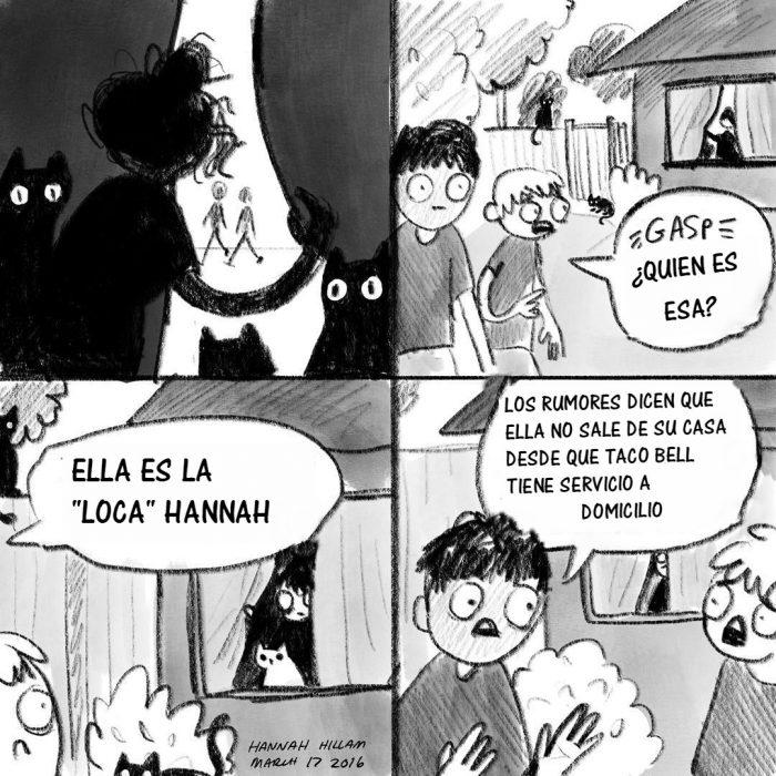 ilustracion comic mujer encerrada y hombres hablando