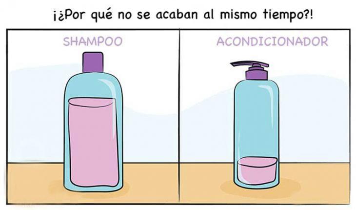 ilustracion de botellas con shampoo y acondicionador