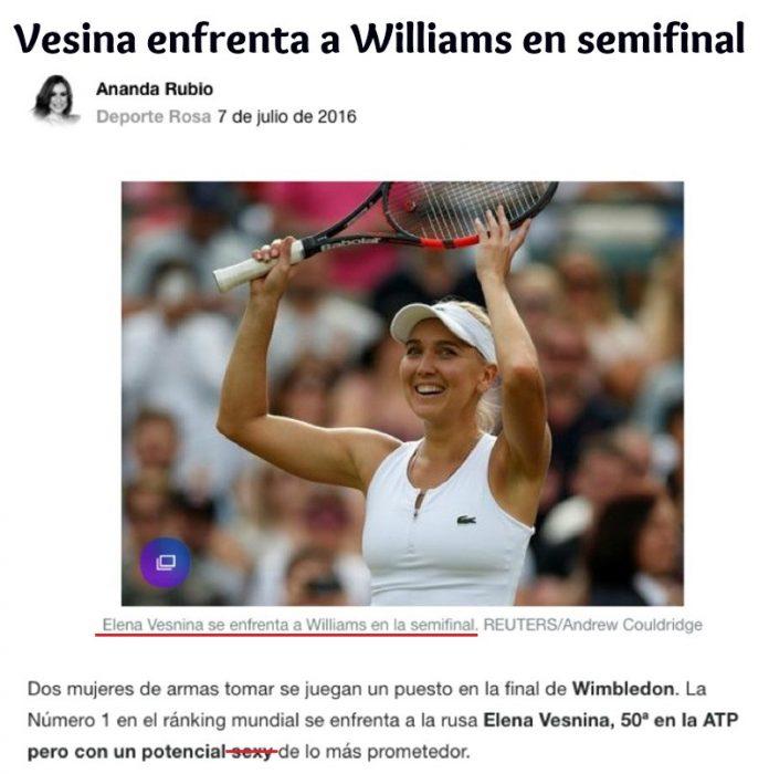 noticia de revista digital con mujer rubia tenista con raqueta