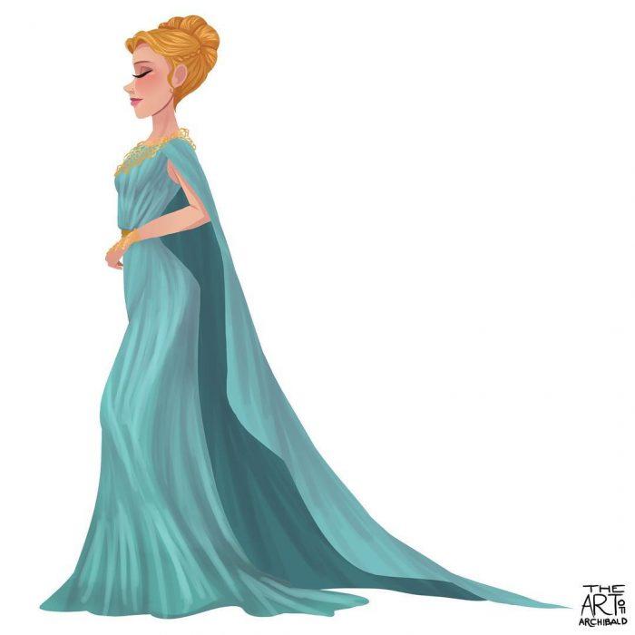 Ilustración de princesa sagitario.