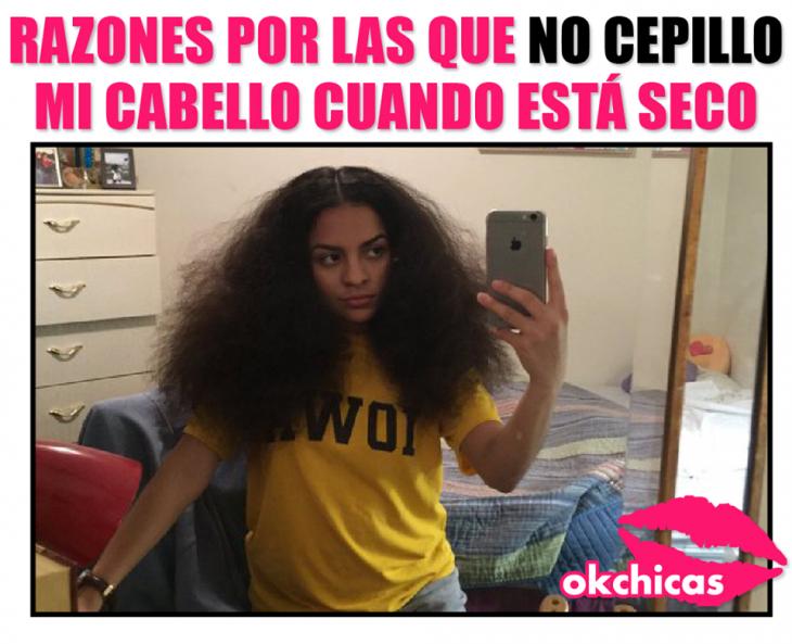 meme okchicas de chica cabello largo tomandose selfie en la cama