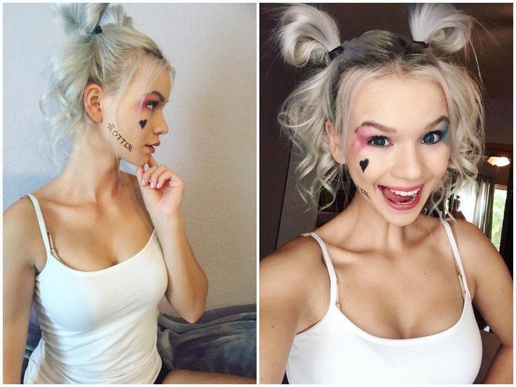 Maquillaje de Harley Quinn.