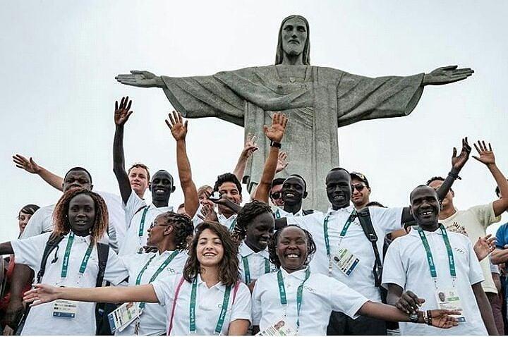 Equipo de refugiados en Río de Janeiro.
