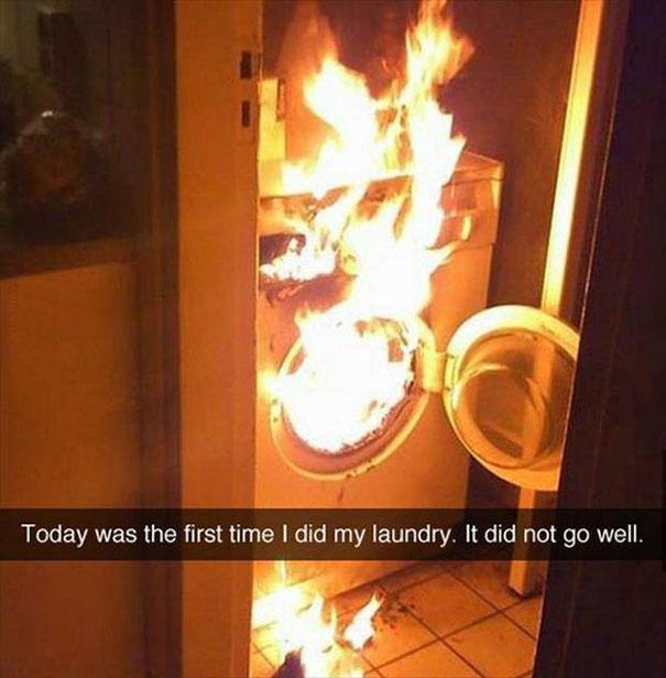 snap lavadora en llamas