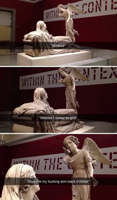 snap serie de fotografías de esculturas