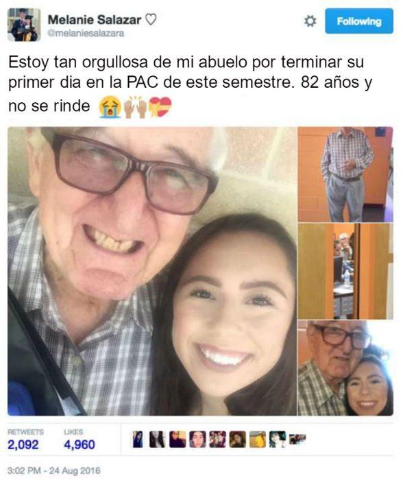 publicacion de twitter de chica con abuelo