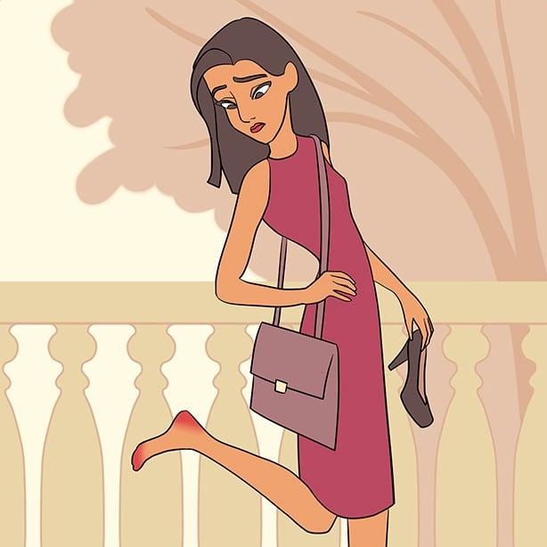 Ilustración de una mujer viendo sus pies.