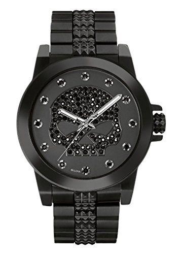 Reloj en color negro con una calavera adentro