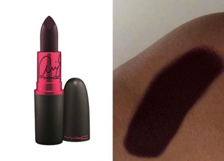 lipstick de color negro y prueba de maquillaje sobre piel color morena