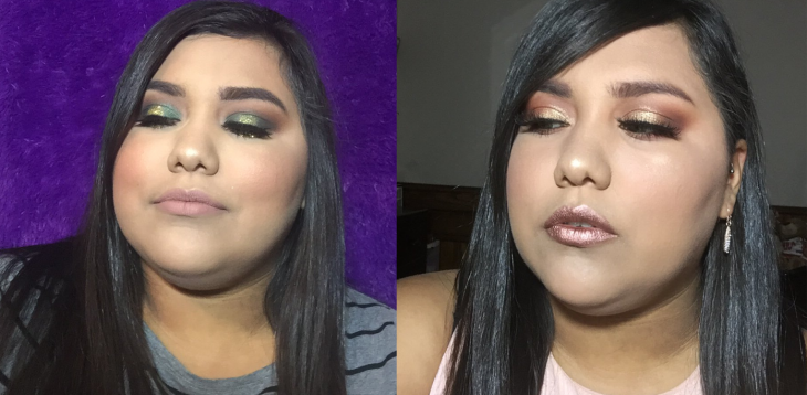 mujer morena con maquillaje profesional
