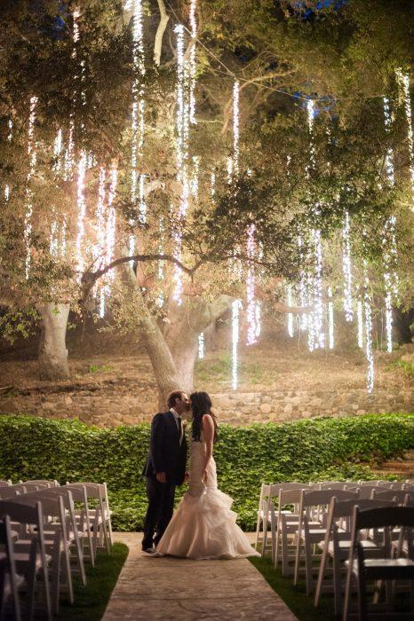 Pareja de novios besándose bajo un árbol cubierto de luces