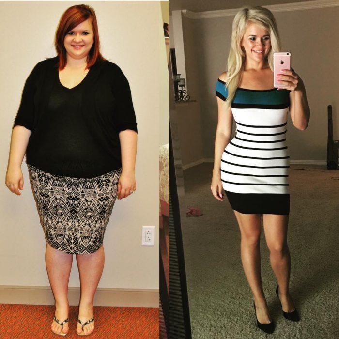 Christine Carter quien pesaba 125 kilos antes y después de perder peso