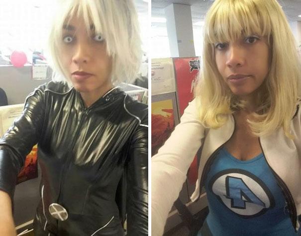 Mujer vestida con cosplay de super heroes