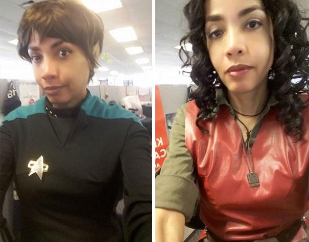 Mujer vestida con un cosplay del sr spock
