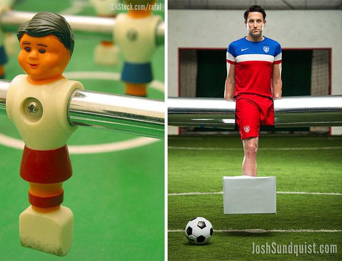 Chico sin una pierna disfrazado como muñeco de fútbol de mesa