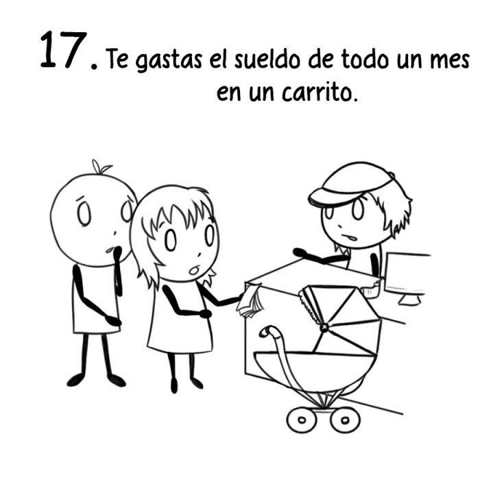 Comic de cosas que sólo los nuevos padres entienden. Comprando cosas para el bebé