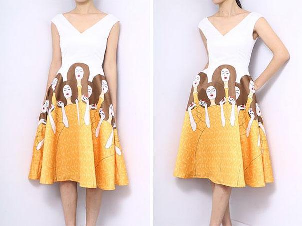 vestido con pintura impresa