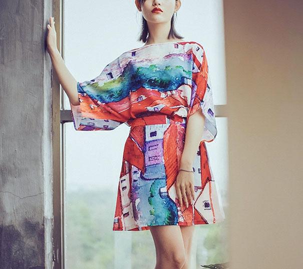 vestido con impresión de pintura