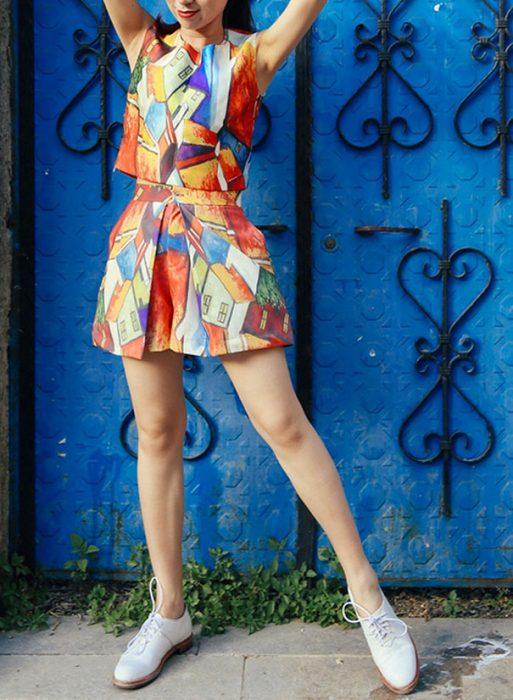 falda con impresión de pintura