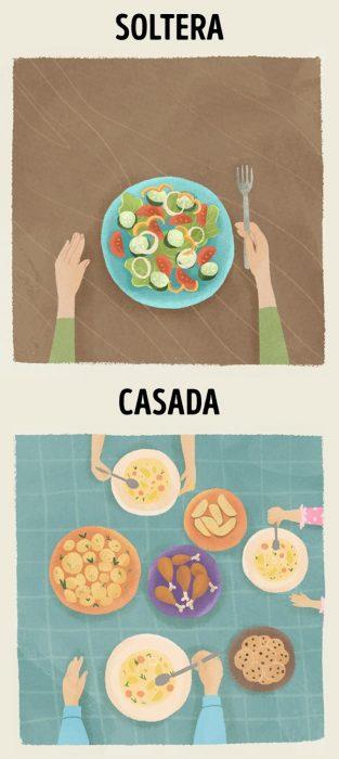 Ilustraciones que demuestran la diferencia entre estar casada y ser soltera