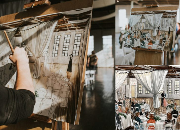 Artista pintando un cuadro durante la boda de una pareja