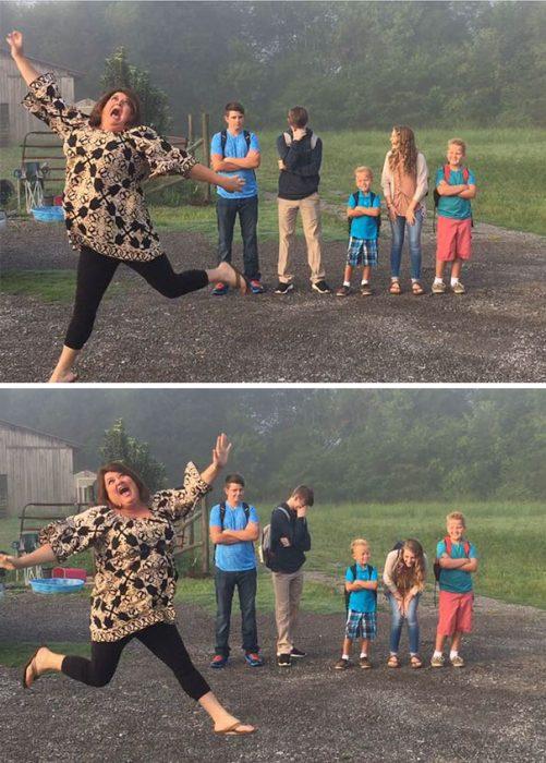 Mmá saltando porque sus hijos regresan a la escuela