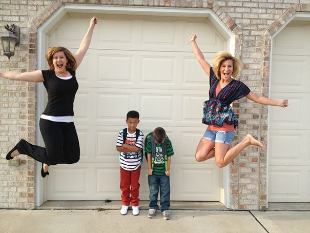 Mommies jumping with excitement at seeing their children back to school