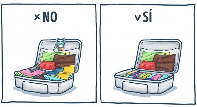 Ilustración de la forma correcta en la que puedes empacar tu maleta