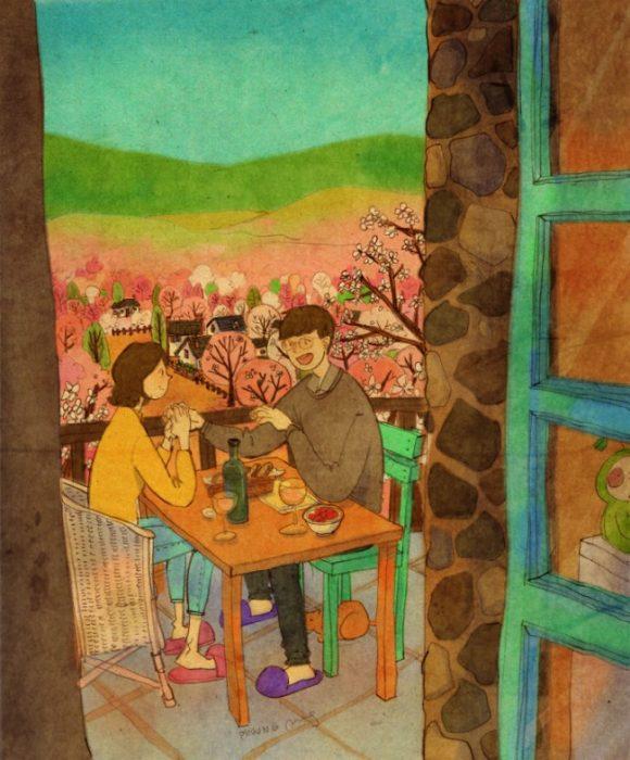Ilustración de pareja comiendo en un restaurante