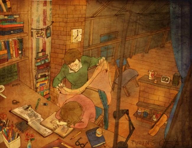 Ilustración de pareja apoyando al otro en las tareas