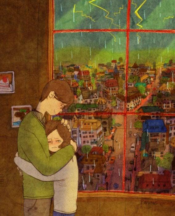 Ilustración de pareja abrazados viendo la lluvia