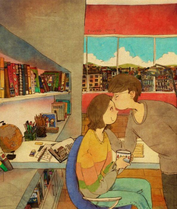 Ilustración de pareja besándose