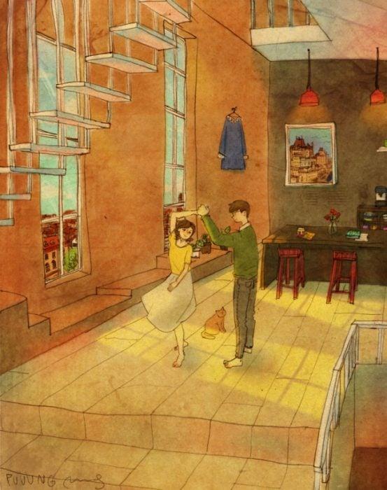 Ilustración de pareja bailando