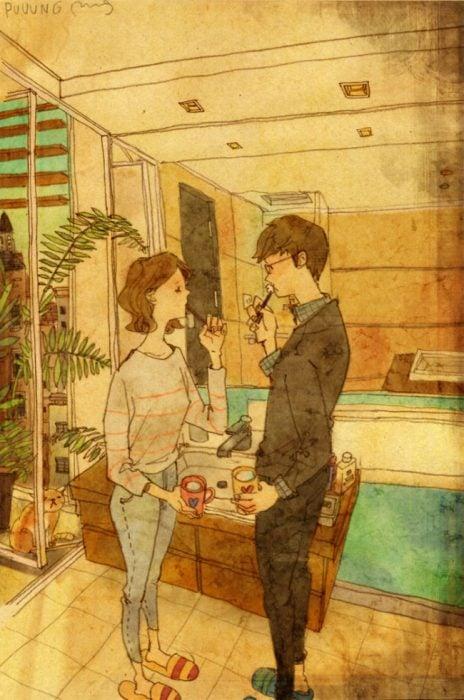 Ilustración de pareja conversando durante el desayuno